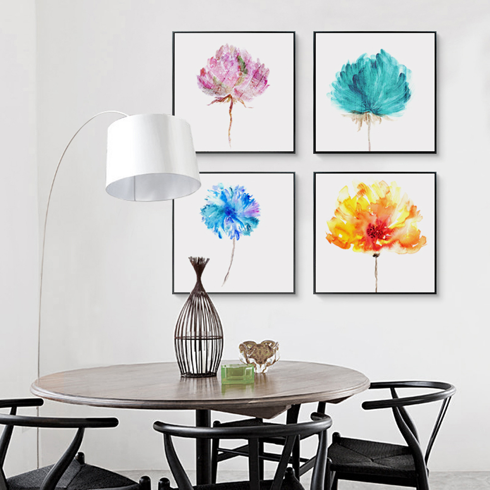 Nordic Art Paintings Watercolor Flowers Canvas Painting Print Poster Picture Wall  Home Decor OT033