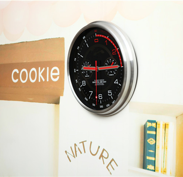 New! Racing Car dashboard clock Large Round Modern Metal Wall Clock with Thermometer Hygrometer auto theme watches supercar gift