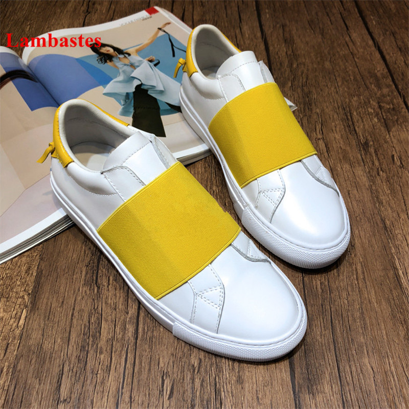 Women Casual Shoes 2018 Hot Yellow Round Toe Elastic Band Shallow Leather Women Sneakers Mixed Color Platform Shoes Women Flats beffery 2018 spring patent leather shoes women flats round toe casual shoes vintage british style flats platform shoes for women