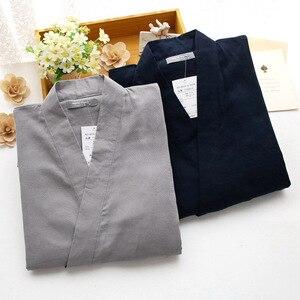 Image 4 - מסורתי גברים יפני פיג מה סטי 100% כותנה פשוט קימונו יאקאטה כתונת לילה הלבשת חלוק רחצה פנאי ללבוש מאהב Homewear