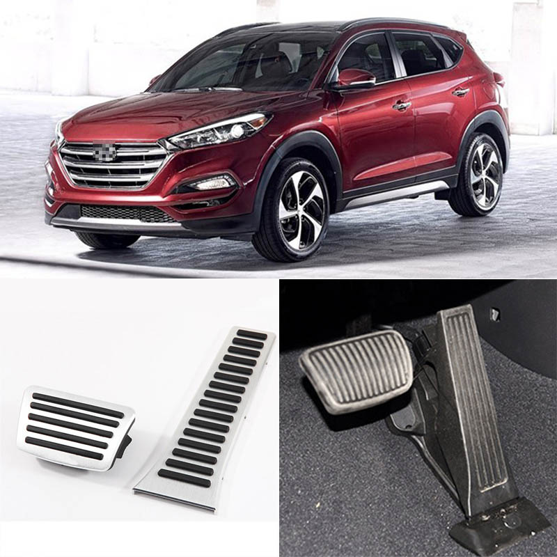 Brand New 2pcs Aluminium Non Slip Foot Rest Fuel Gas Brake Pedal Cover For Hyundai Tucson 2013-2016 AT brand new 3pcs aluminium non slip foot rest fuel gas brake pedal cover for audi q3 at 2013 2016