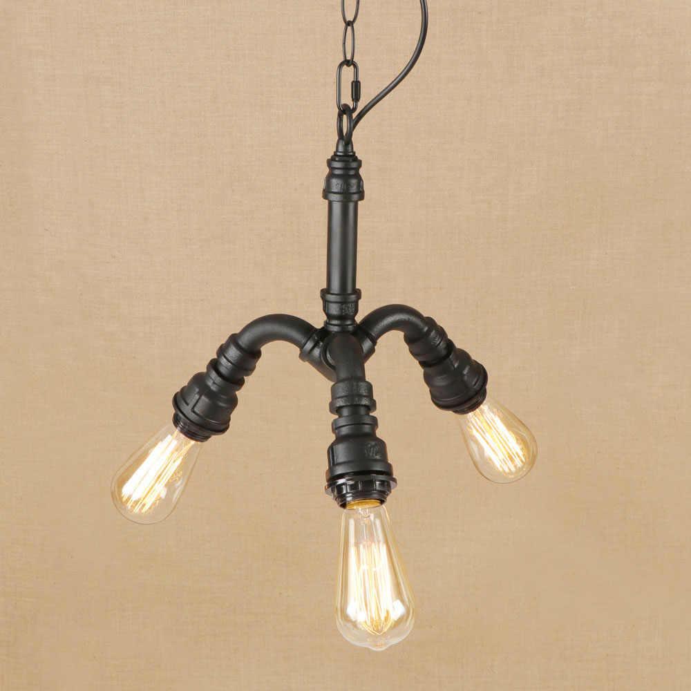 Винтаж железа классическая черная Подвесная лампа светодиодный 3 подвесной светильник E27 110 V 220 V для Освещение для кухни гостиной отеля