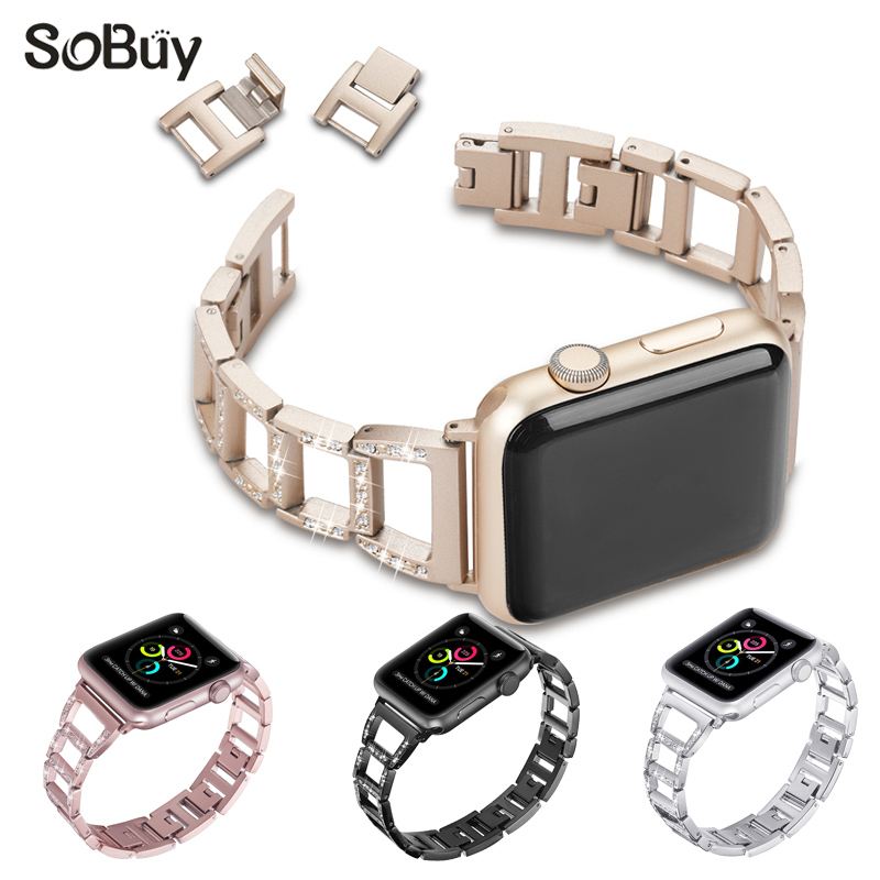 So buy set diamond alloy stainless steel strap for apple watch iwatch 1/2/3 series band 42mm Link bracelet 38mm metal wirst belt