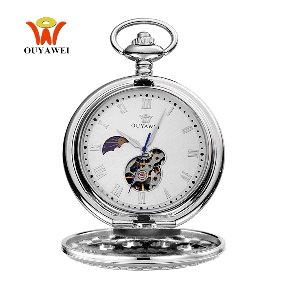Permalink to Hombre Relogio OYW Mechanical Hand Wind Pocket Watch Men Man Skeleton Pendant Watch Silver Full Steel Case Pocket Fob Watch Gift