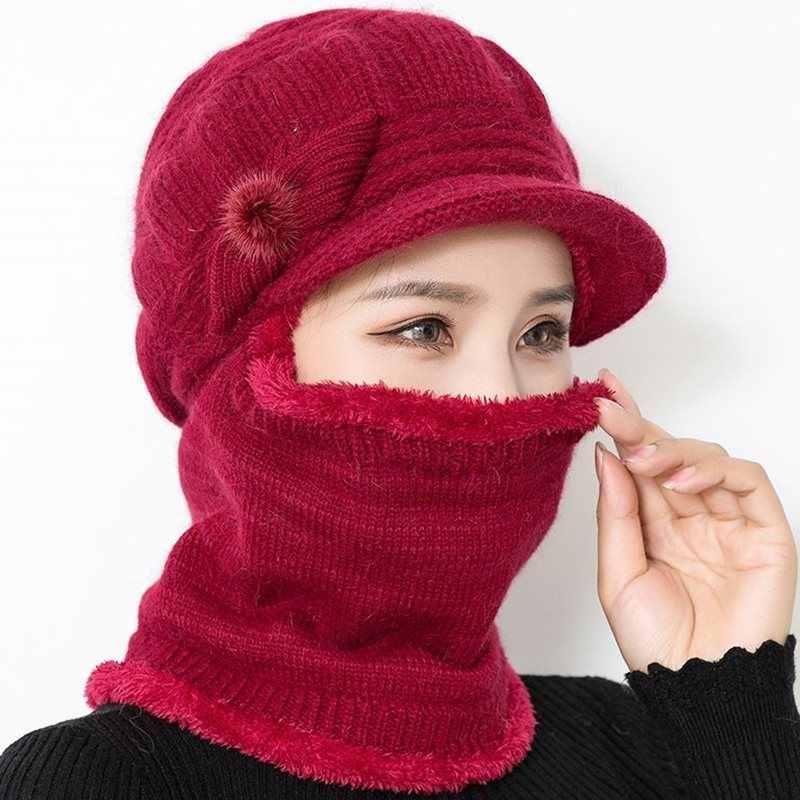 Kadın Boyun Isıtıcı sonbahar kış bere şapkalar Maske Kadınlar Kış Şapka örgü şapkalar Eşarp Seti Bere Kayak Kapaklar Kadın