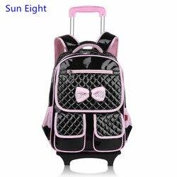 Sun eight kids trolley school bag girl school backpack with wheels korean style black leather backpack.jpg 250x250