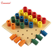 Wooden Simple Pegs Math Toy Montessori Materials Colorful Cylinder Kids Learning Preschool Teach Aids Maths Sensory Toy SE071-36