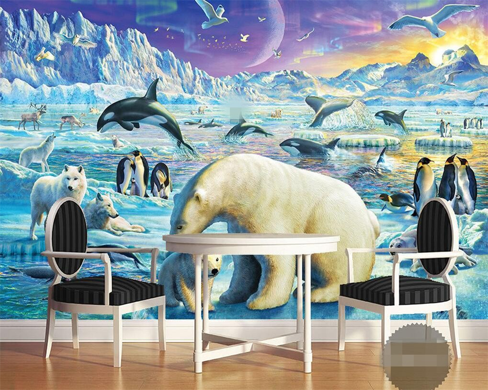 Beibehang 壁紙氷と雪の雪シャチジャンプペンギンシロクマ動物子供の