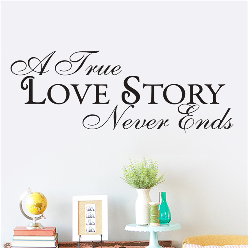 New Quote Vinyl Decal Wall Sticker For Bedroom Rooms Love Story Home