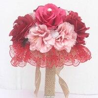 2017 Màu Hồng Đỏ Thời Trang Wedding Bouquet cho Cô Dâu với Silk Ribbon Crystals Bouquet De Noiva Nhân Tạo Bridal Bouquet De Mariage