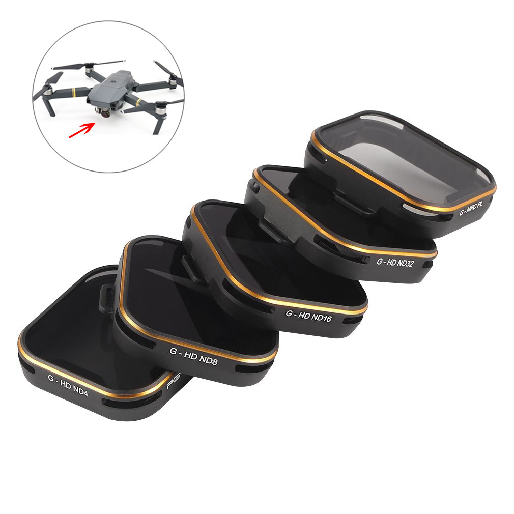 PGYTECH 5pcs Lens Filters ND4/8/16/32/PL for GOPRO Hero 5 Camera Accessories @ZJF pgytech lens 5 pcs filters for dji mavic pro drone g uv nd4 8 16 32 cpl hd filter accessories gimbal lens filter quadcopter