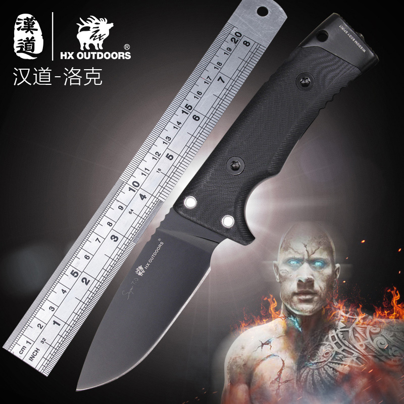 HX OUTDOORS D2 Steel Tactical Straight Knives High Hardness Outdoor Survival Defense Knife G10 Handle Camping Knife With Kydex quality tactical folding knife d2 blade g10 steel handle ball bearing flipper camping survival knife pocket knife tools
