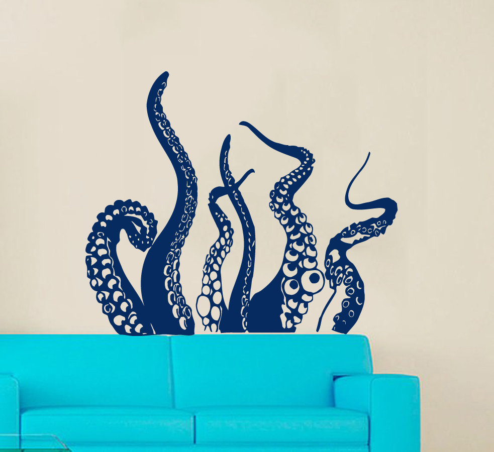 Octopus Tail Special Designed Wall Stickers Home Bathroom Cool Art Decor Vinyl Wall Decals Part Of Octopus Wallpaper posterW-698