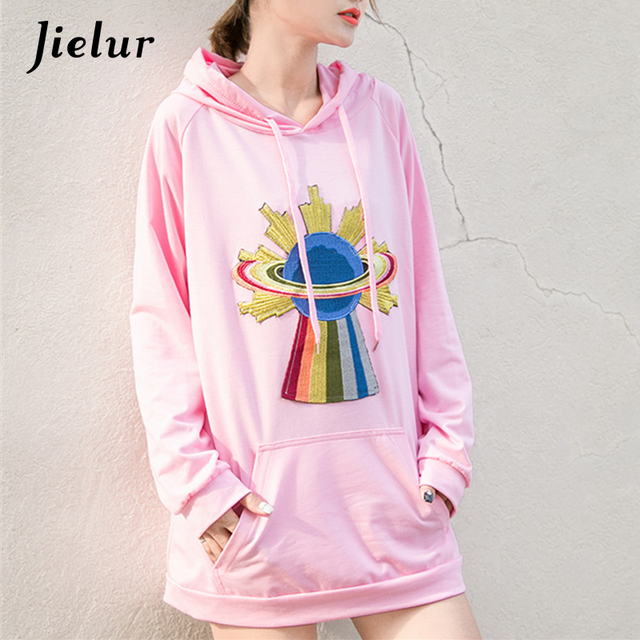 34ee1761bf944 US $15.65 35% OFF|Fashion Rainbow Star Embroidery Pink Hoodies for Women  Loose Hooded Female Sweatshirt Korean Pocket Tracksuits Pullover Long  Top-in ...