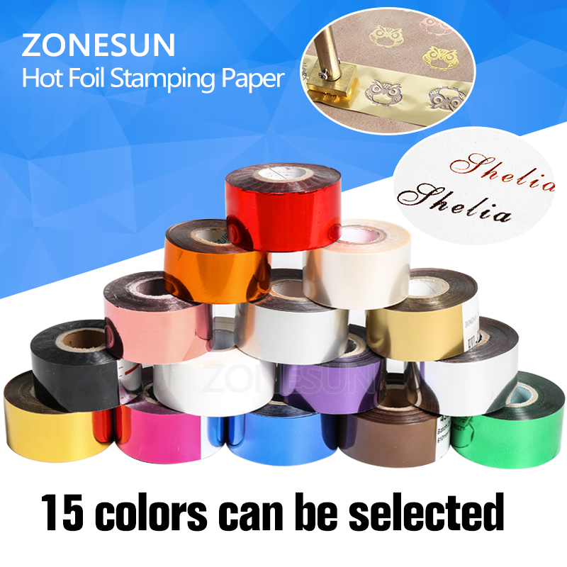 ZONESUN Rolls(gold and slilver) Hot Foil Stamping Paper Heat Transfer Anodized Gilded Paper with Shipping Cost Fee