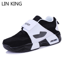 LIN KING Fashion Mixcolor Men Casual Shoes Thick Sole Wedges Height Increase Comfortable Outdoor Footwear Tenis Sneakers