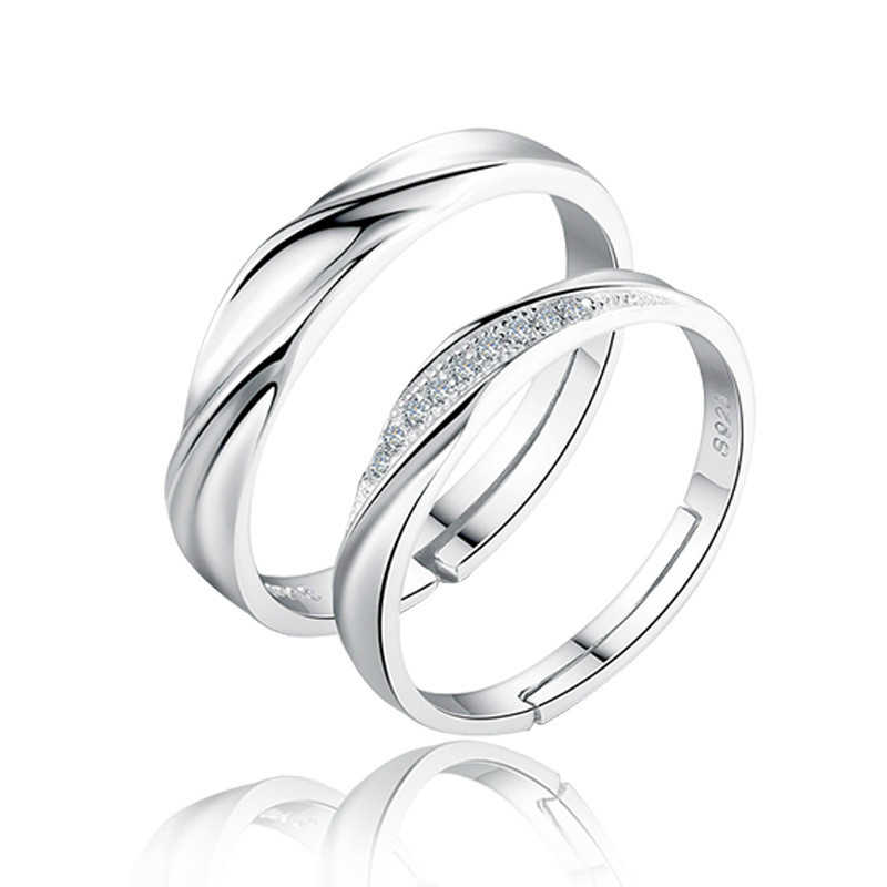 2019 New Fashion Silver Color Couple Rings for Women Men Wedding Bands Wholesale Price Fashion Jewelry For Women Accessories