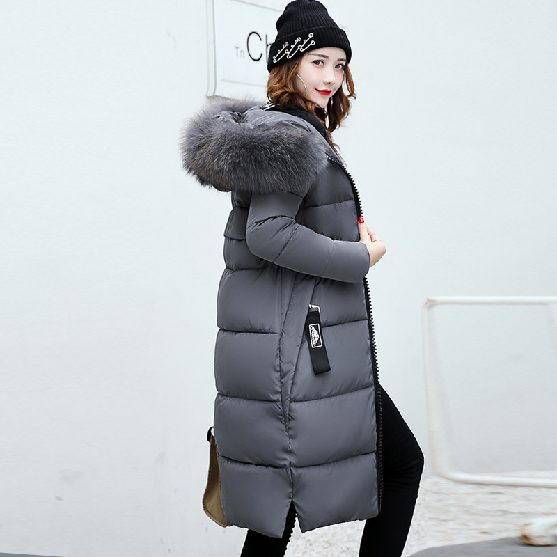3XL Casual 2019 autumn Winter women fur collar hoodie Down Jacket Female Long Hooded Thickening Warm Clothes Long   Parkas   Coat