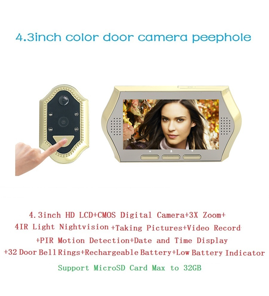 ФОТО 2017 wireless door peephole camera 4.3 inch LCD 0.3M pixels camera IR Night vision 3X Zoom 32Rings PIR motion detection Max 32G