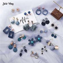 Julie Wang 1pair Simply Korean Style Earrings Blue Grey Geometric Statement For Women Hanging Round Ear Stud Jewelry