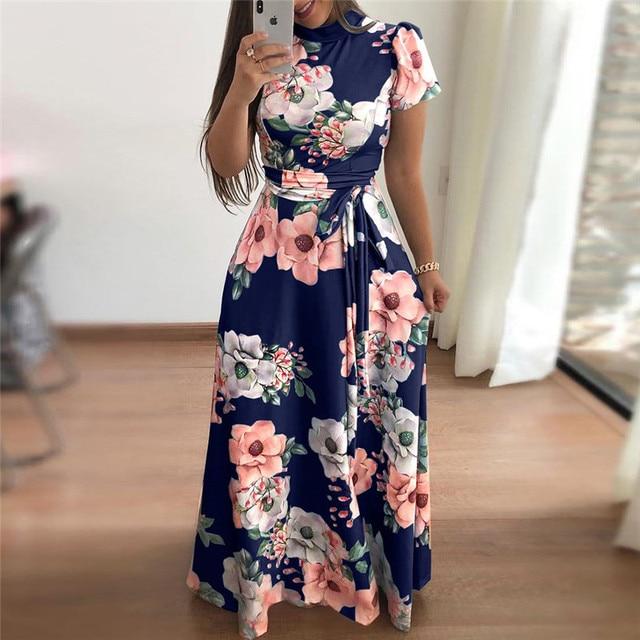 Women Summer Dress 2019 Casual Short Sleeve Long Dress Boho Floral Print Maxi Dress Turtleneck Bandage Elegant Dresses Vestido 4