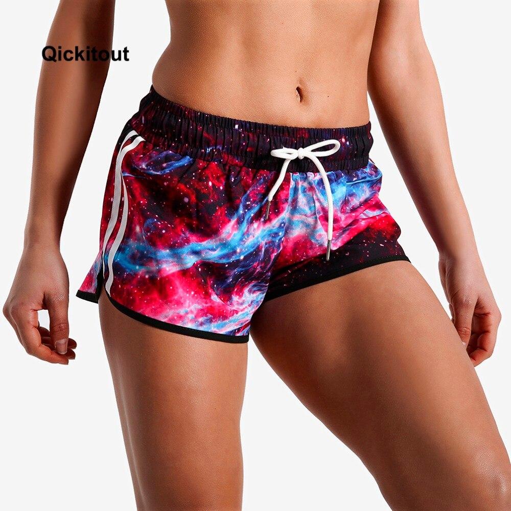 Qickitout Women Sexy Ladies Elastic   Shorts   Star Space Galaxy Digital Print Fitness   Short   Pants Big Size Drawstring Summer Beach
