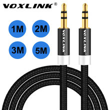 VOXLINK 1 m/2 m/3 m enchufe chapado en oro 3,5mm Cable auxiliar macho a macho Audio cable de línea para coche iPhone MP3/MP4 altavoz de auriculares(China)