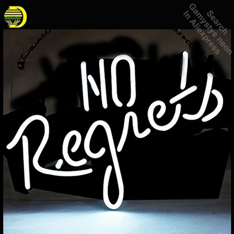Neon Sign for No Regrets Handmade neon bulb Sign Love Neon lights Sign glass Tube Handcraft Iconic Bulbs Super Bright club lampNeon Sign for No Regrets Handmade neon bulb Sign Love Neon lights Sign glass Tube Handcraft Iconic Bulbs Super Bright club lamp