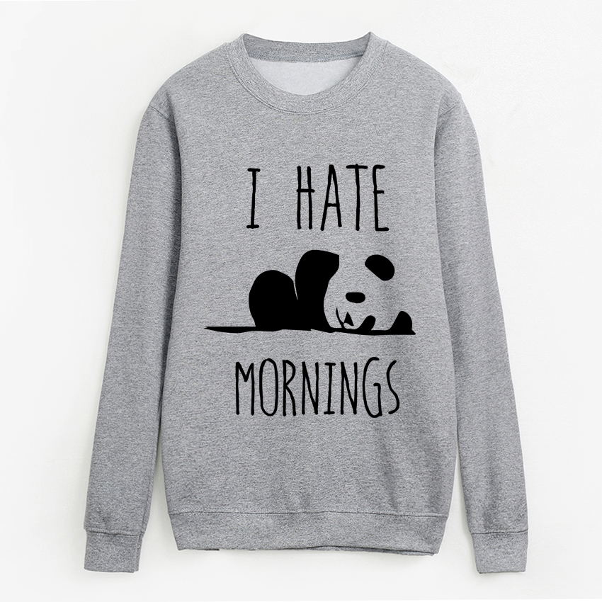 2019 Autumn Harajuku Fleece Sweatshirts Lady I HATE MORNINGS Kawaii Panda Hoodies For Women Top Brand Tracksuits Femme Pullovers