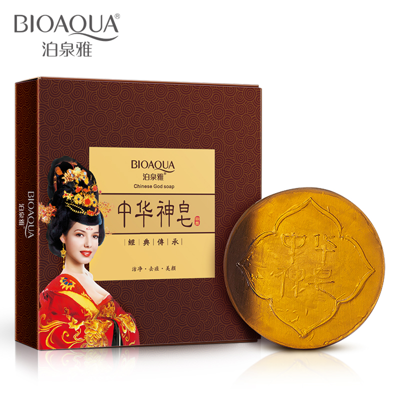BIOAQUA New Chinese Gold Handmade Soap Essential Oil Facial Cleaning Soap for Oil Control Clean Pores Remove Blackhead