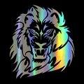 Автомобильная виниловая наклейка 15,7*17,8 см, забавная Светоотражающая лазерная наклейка с изображением могучего льва, диких животных, стильн...
