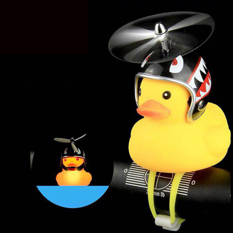 Bicycle Bell Duck Head Light Vibration Light Yellow Propeller Small Yellow Duck Helmet Bamboo Dragonfly Duck Shape Kids Toys