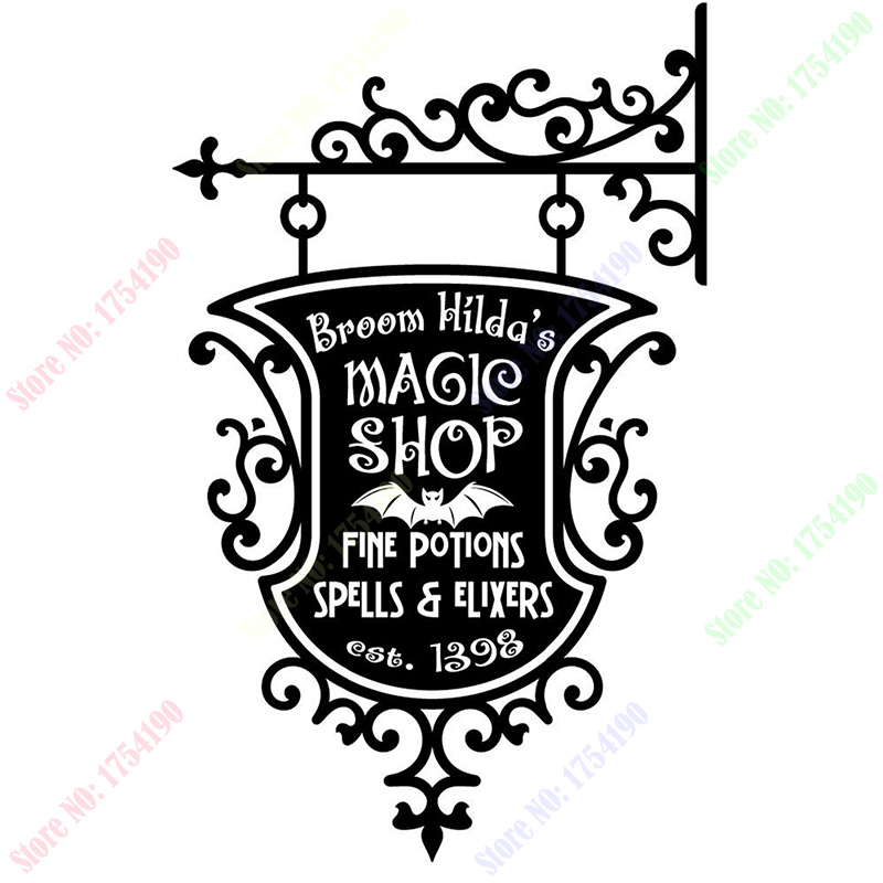 Happy Halloween Broom Hildas Magic Shop Sign Living Room Vinyl Carving Wall Decal Sticker for Holiday Party Home Window Decor