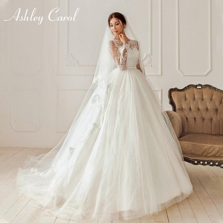 Ashley Carol élégante Scoop Illusion à manches longues princesse robe de mariée 2019 nouveauté arc robe de mariée robes de mariée Vintage