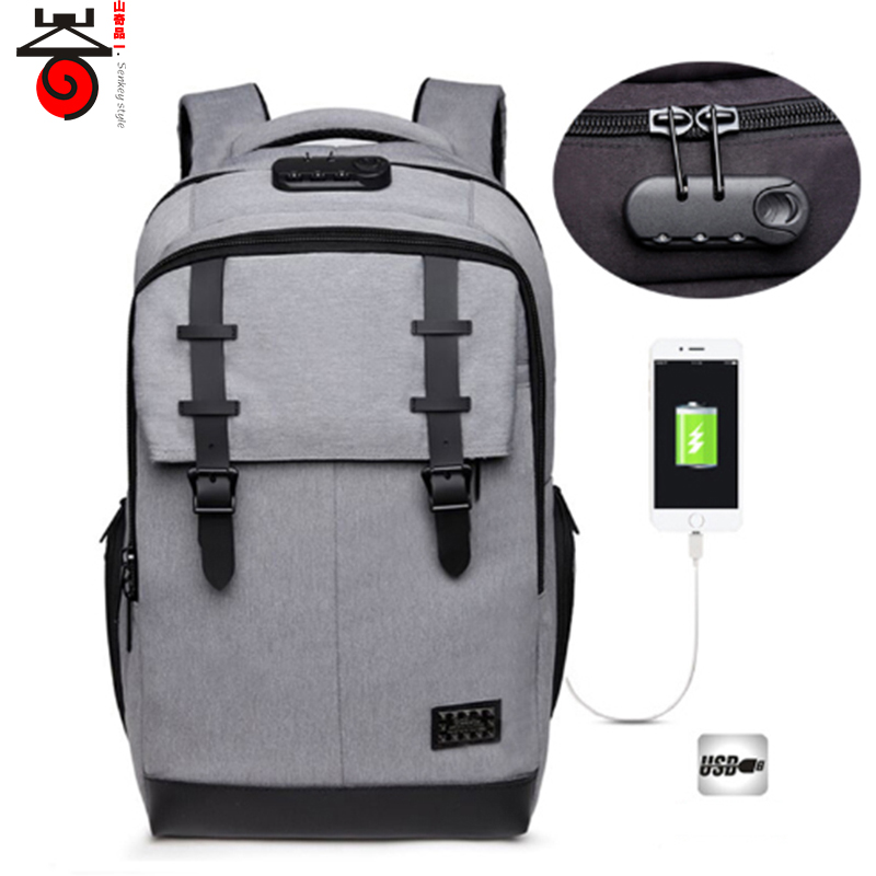 New Anti-thief USB Charge Laptop Backpack Mens Fashion Casual School Bags password lock Security Bagpack Travel bag Male Mochila new anime gravity falls bill school backpack usb charge interface laptop travel bag unisex black shoulder travel bags