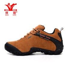 Famosa Marca Para Hombre Deportes Al Aire Libre Senderismo Senderismo Zapatillas de Deporte Para Los Hombres de Color Marrón de Cuero Deporte Zapatos de Montaña Escalada Outventure