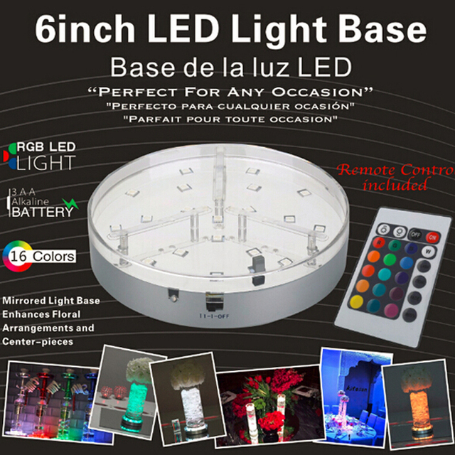 New Hot 20units/lot 6inch Led Vase Base Light Multi Colors AA Battery Operated led lamps for Wedding party Decoration