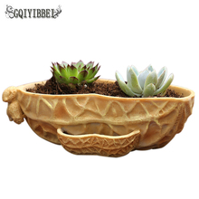 GQIYIBBEI New Peanut eggplant Fleshy Flower Pot Creative Resin Crafts Mini Potted Home Photography Wedding Decoration