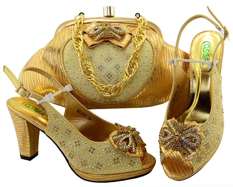 SB8088-6 matching set fro african lace fabric dress aso ebi wedding party gold shoes and bag matching set все цены