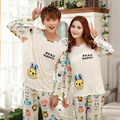 GOPLUS 2016 New Style Couple Pajamas Modal Long Sleeve Pajamas for Women Cartoon Pajamas Sets Men and Women Pajamas C1697