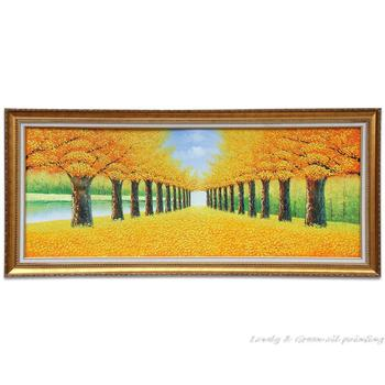 Free Shipping Hand-painted Wall art Autumn Golden Avenue Home Decoration Tree Landscape Oil Painting On Canvas 60x155cm