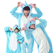 Flannel Animal Unicorn Panda Onesie Pajamas Women's Warm Pajamas Family Matching Outfits Mother Daughter Sleepwear(China)