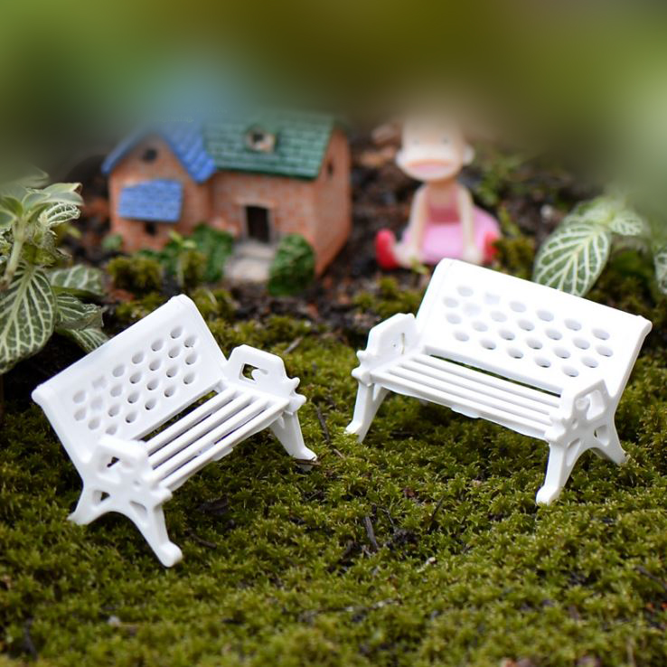 1Piece Mini White Bench Chair Seat Figurines & Miniatures Decoration Retro Style Fairy Garden Micro Landscape Table Decor P10