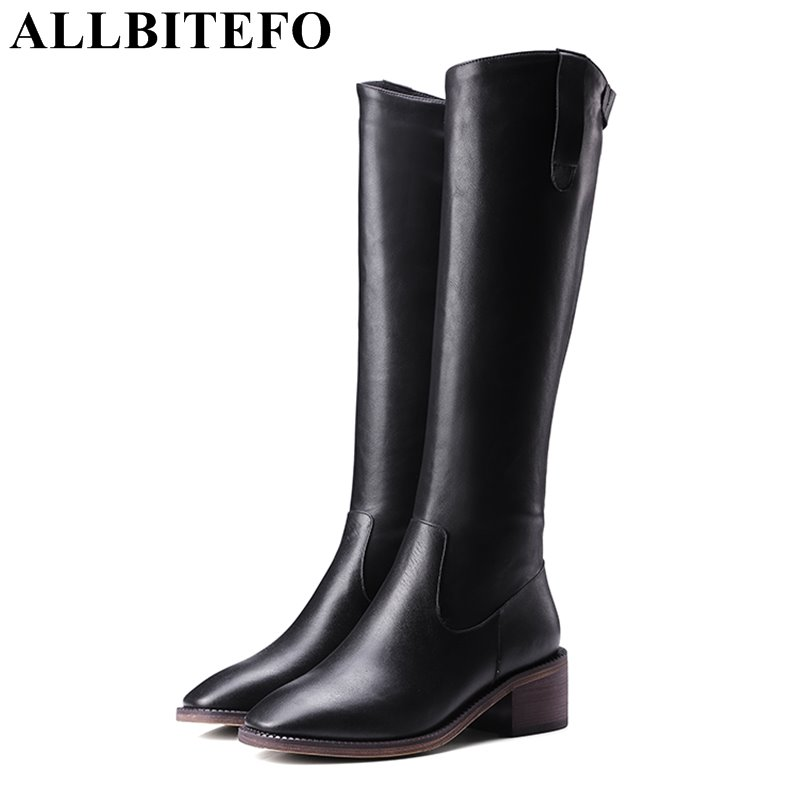 ALLBITEFO genuine leather+pu square toe medium heel women boots thick heel high quality over the knee boots winter boots woman цена 2017