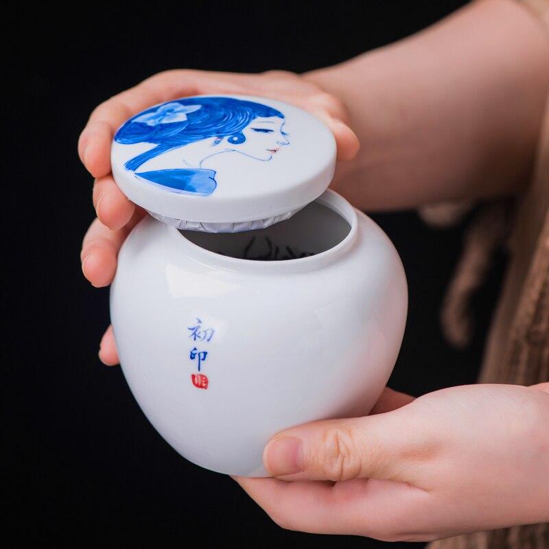 Jingdezhen peint à la main antique beauté thé stockage pot en céramique porcelaine Tieguanyin Dianhong réservoirs canettes thé cérémonie accessoires - 4