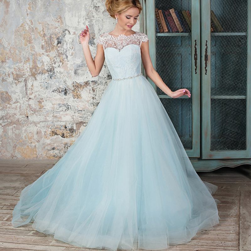 Blue Wedding Gowns 2014: Light Blue Colored Boho Wedding Dress With Cap Sleeve Lace