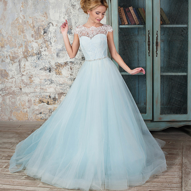 Light Blue Colored boho Wedding Dress with Cap Sleeve Lace V Back ...