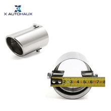 "X AUTOHAUX 100 x 60mm/ 3.9 x 2.4 inches(L*D) Car Stainless Steel Exhaust Rear Tail Muffler Tip Pipe Fit Diameter 1 1/4"" to 2""(China)"