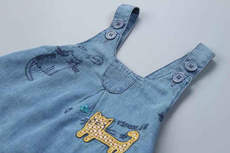Verano bordado gato niñas denim jeans faldas bebé niña vaquero falda trasera niños suspensor falda 2-8 años bebé ropa de niña