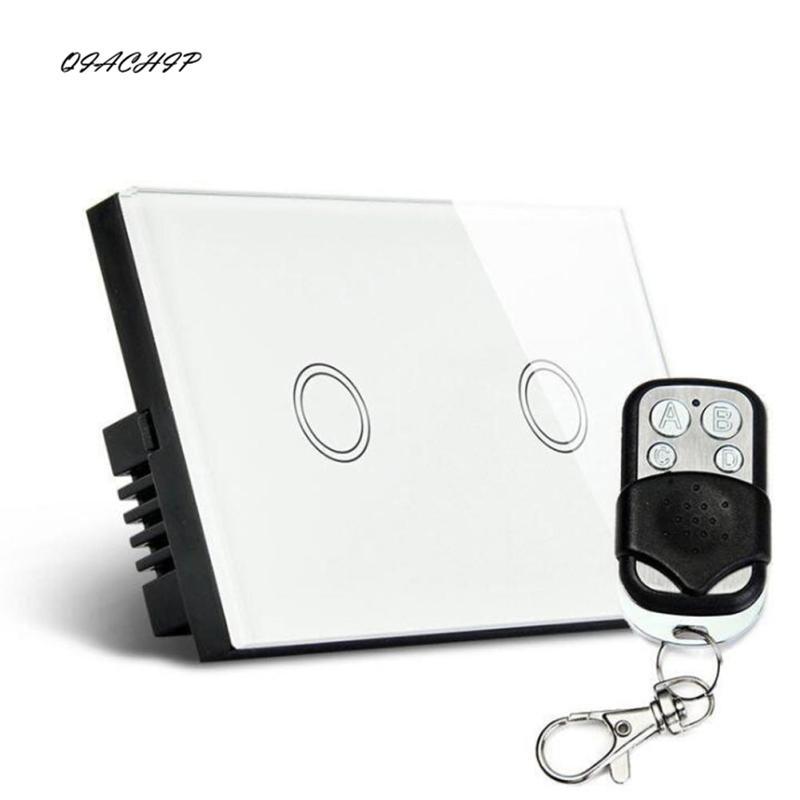QIACHIP Smart Home Touch wireless Remote Control Switch 110V240V US Standard Waterproof Glass Panel for Home Electrical supplies funry st1 us 3gang light smart switch crystal glass panel wireless touch remote control 110 240v surface waterproof interruptor
